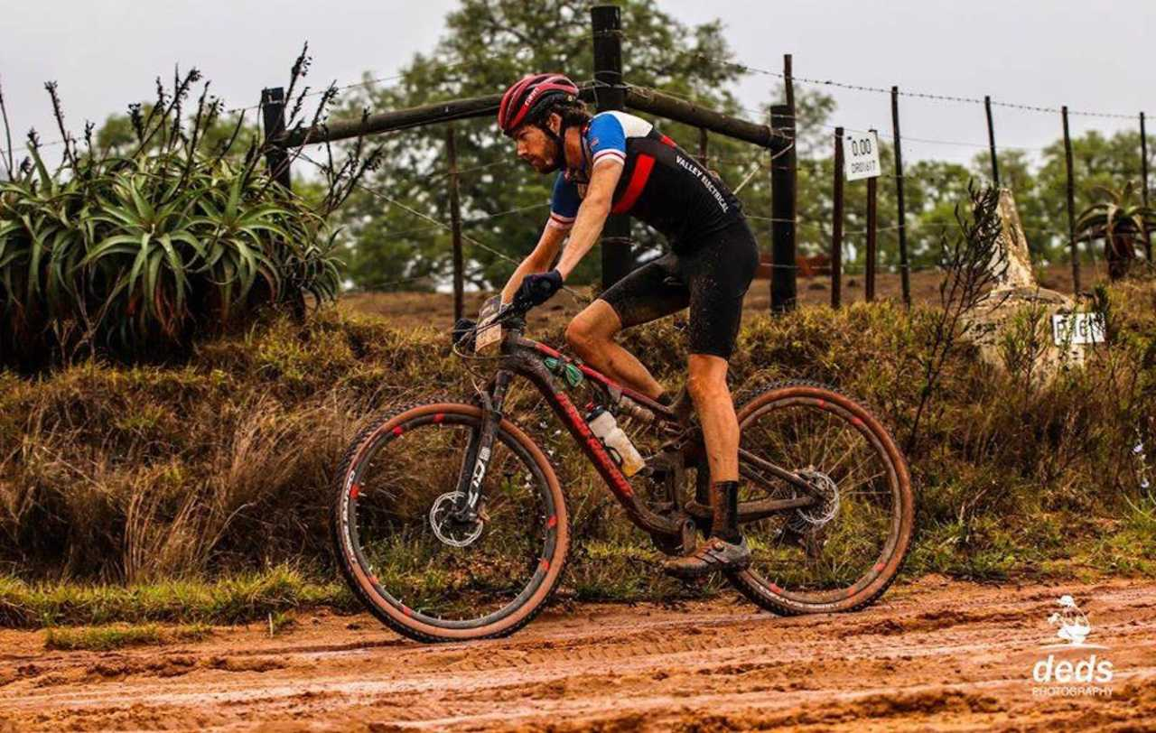 South African mountain bike racer Robert Hobson in action at the Momentum Health Attakwas Extreme race in January 2020.