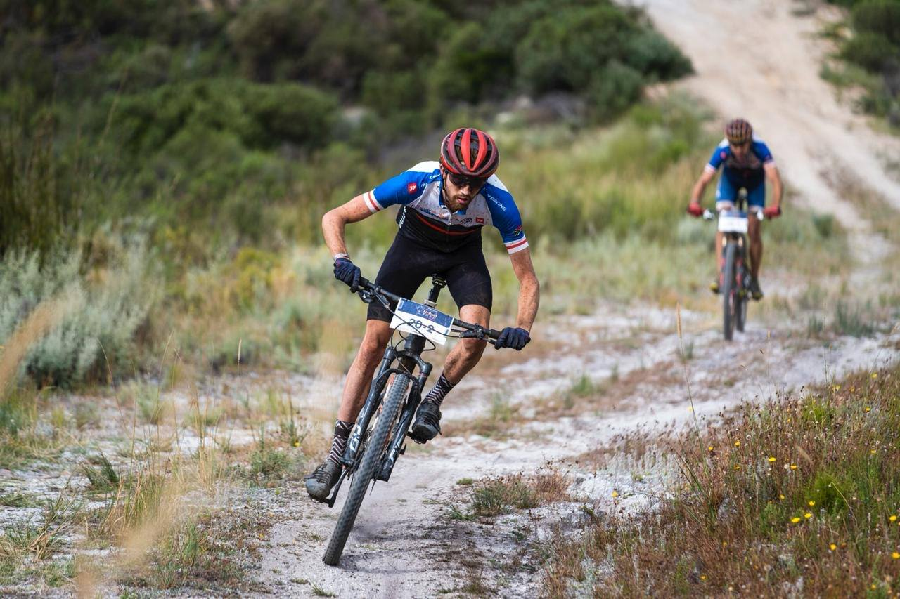 South African mountain bike racer Robert Hobson in action at the Tankwa Trek Mountain bike race in February 2020.
