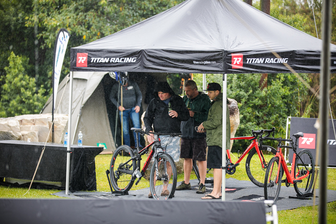 Titan Racing bicycles on display at a mountain bike stage race
