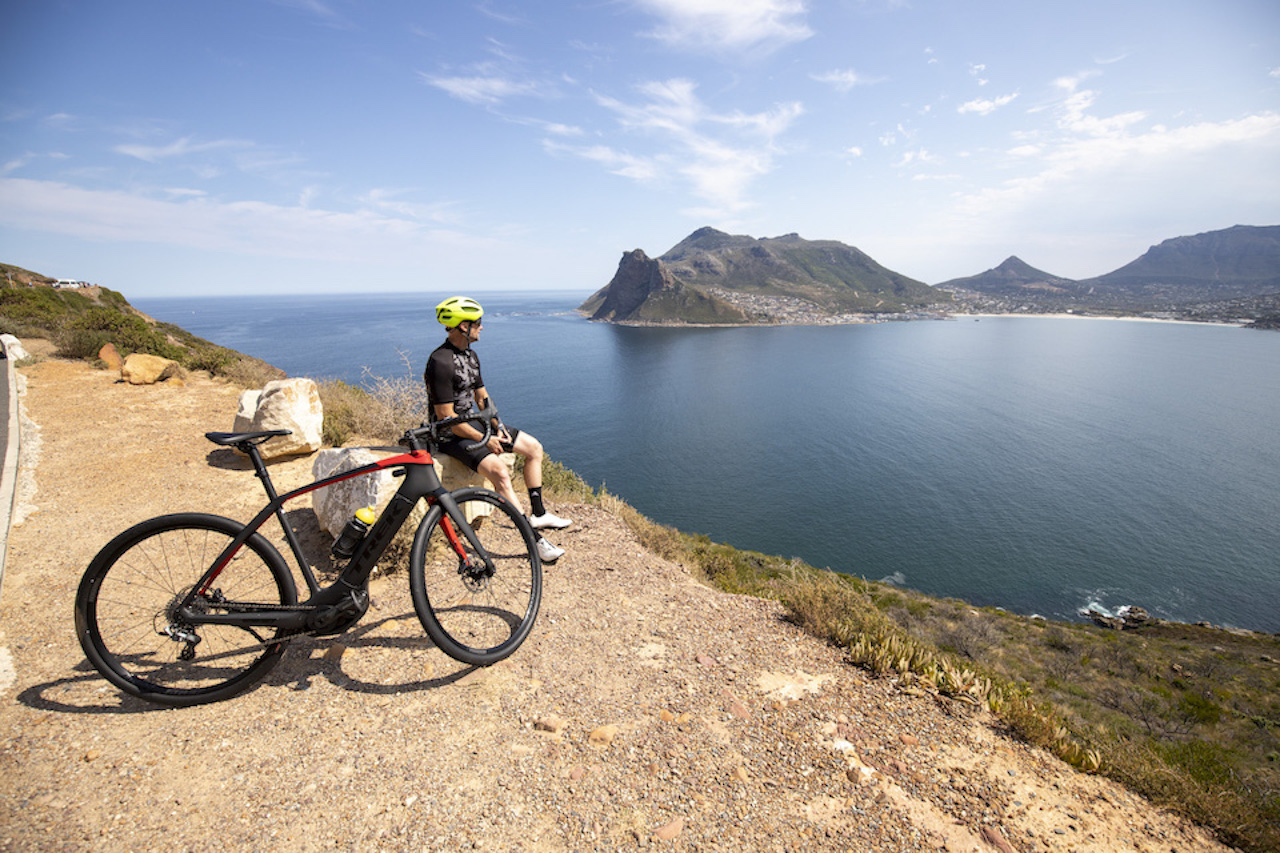 Riding the Trek Domane+ bicycle on Chapman's Peak in Cape Town South Africa for Bike Network. Photo by Gary Perkin