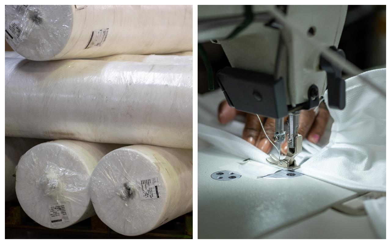 Employees at First Ascent begin production of face masks to be made available to help prevent the spread of Covid-19 in South Africa.
