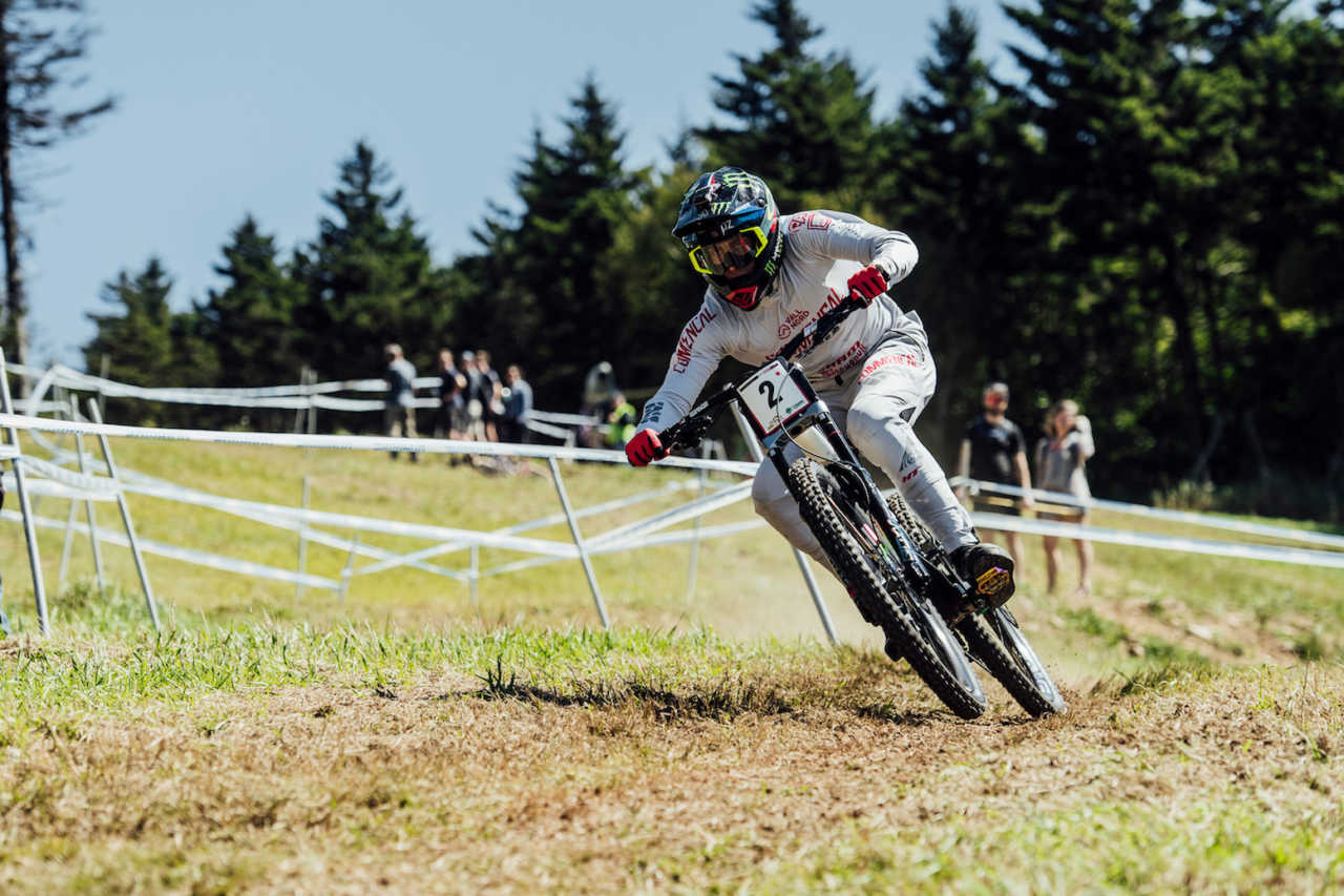 Amaury Pierron performs at the UCI DH World Cup in Snowshoe, USA on September 7, 2019