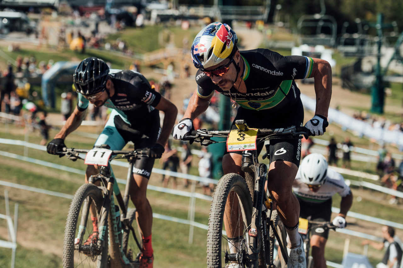 Henrique Avancini performs at the UCI XCO World Cup in Snowshoe, USA on September 8, 2019