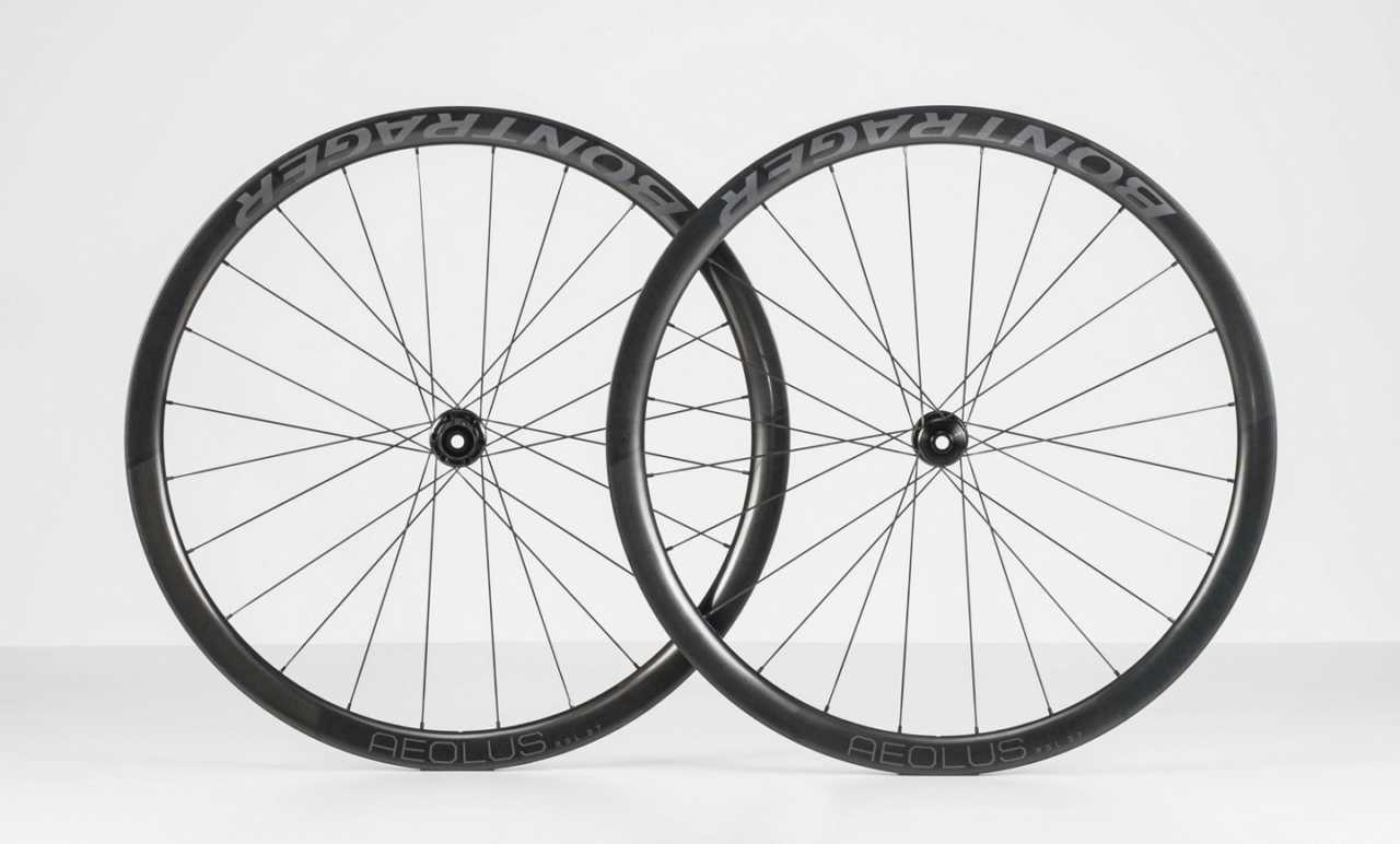 The Bontrager Aeolus RSL 37 tubeless, disc brake, carbon road wheelset for bicycles.