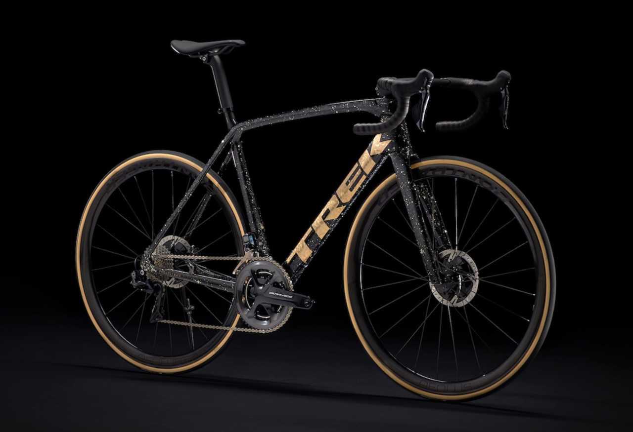 The new carbon fiber Trek Émonda road bike with Bontrager Aeolus carbon wheels and Shimano Ultegra drivetrain.