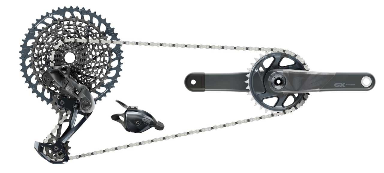 SRAM Eagle GX groupset with carbon cranks
