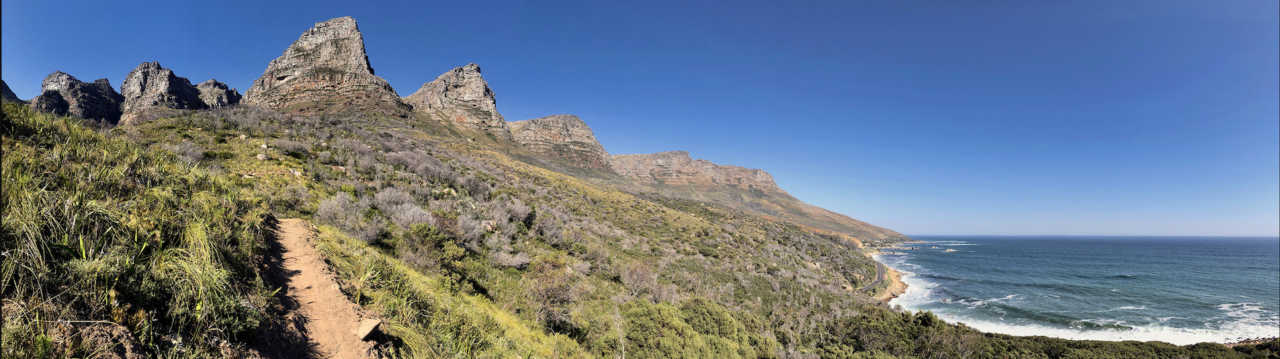 Cape Town South Africa's Twelve Apostle Mountain Range with the new Missing Link mountain bike trail as built by Walter Brosius.