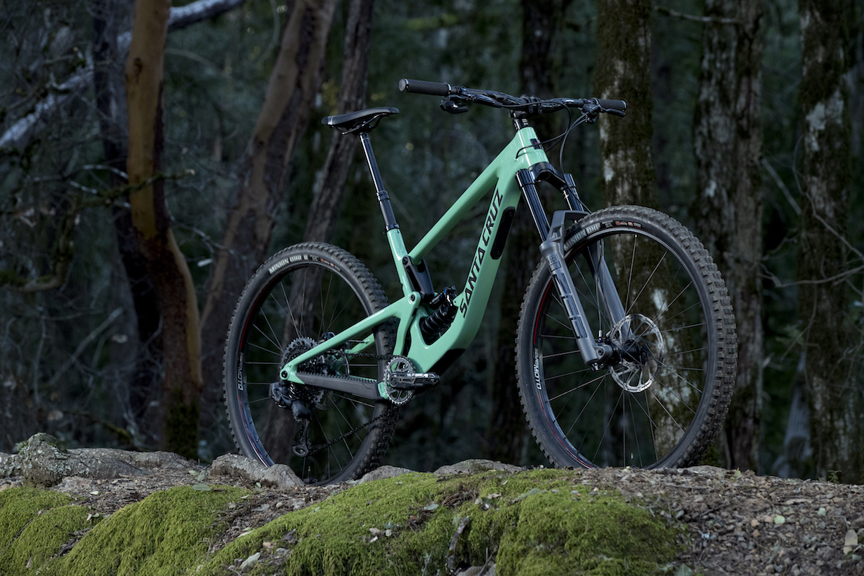 A Santa CRuz Megatower bicycle with The new RockShox ZEB mountain bike suspension fork for Enduro and e-MTB riders as featured in Bike Network South Africa