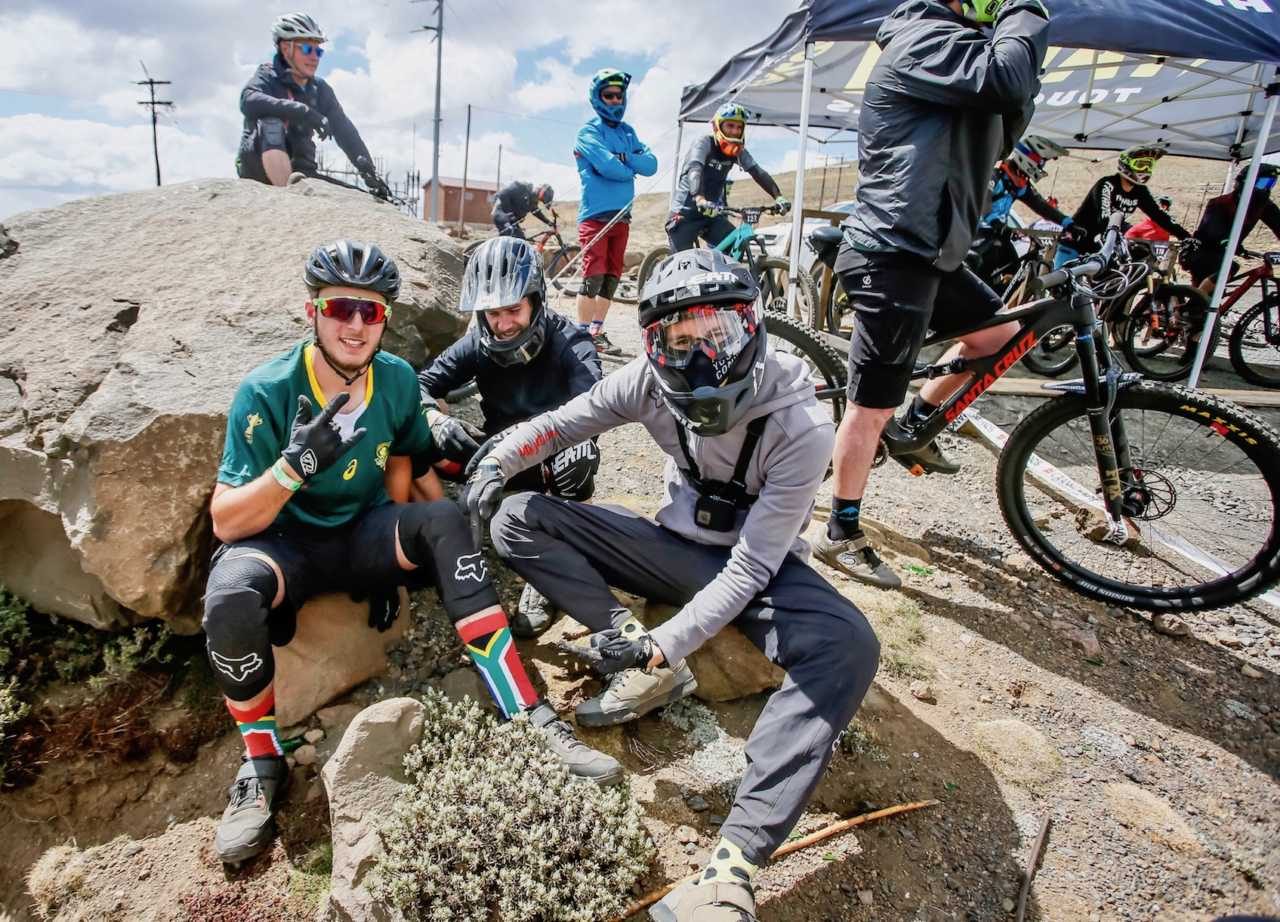 Mountain bikers relaxing at the Crank Chaos event in Lesotho