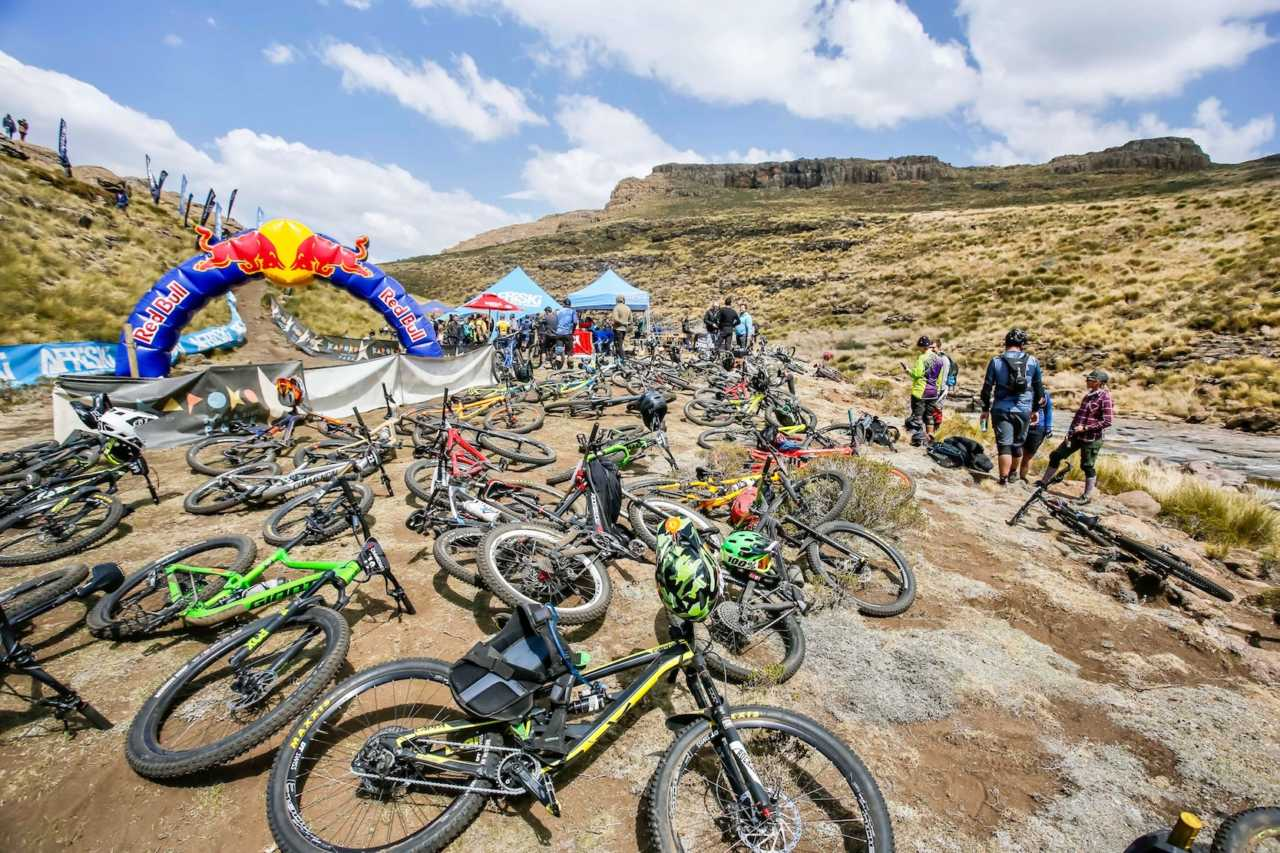 Mountain bikes at the Crank Chaos mountain bike event in Lesotho