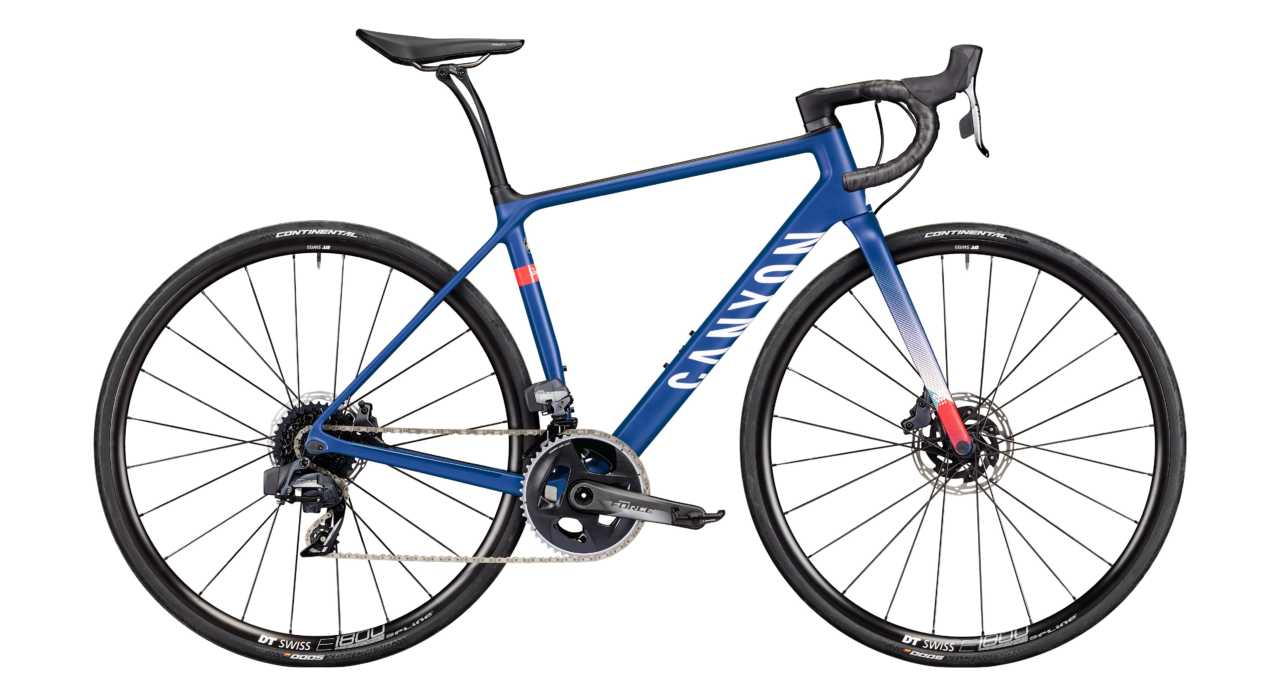 The Canyon Endurace Rapha 100 limited edition road bike which goes on sale on the 14th of July 2020.