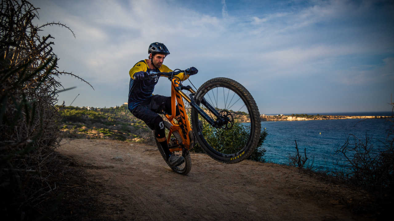 Andrew Neethling riding his Scott Ransom mountain bike in Cyprus in 2020.