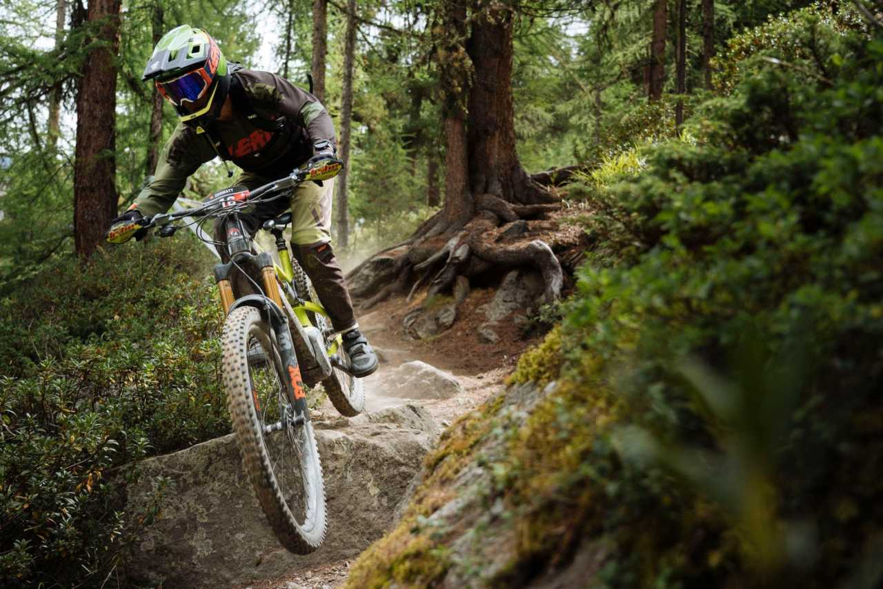 Riders in action at the first round of the Specialized EWS-E series in Zermatt Switzerland on the 28th of August 2020