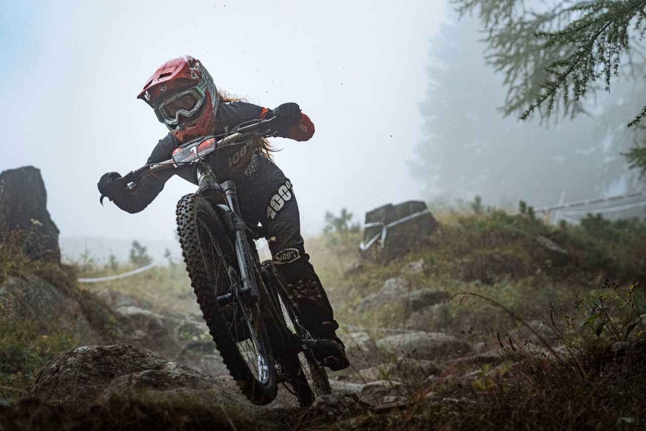 Isabeau Courdurier in action at the Specialized Enduro World Series Zermatt in Switzerland on the 30th August 2020