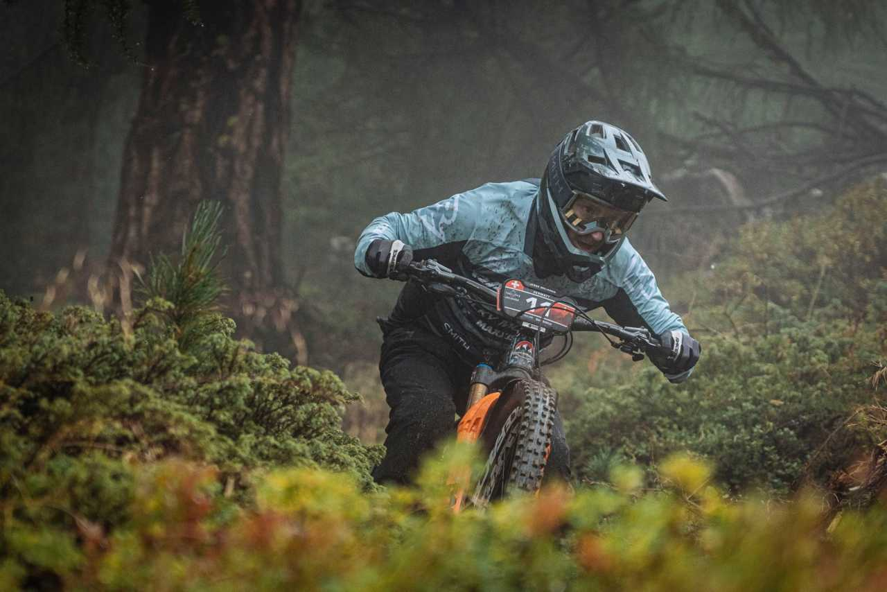 Jesse Melamed in action at the Specialized Enduro World Series Zermatt in Switzerland on the 30th August 2020