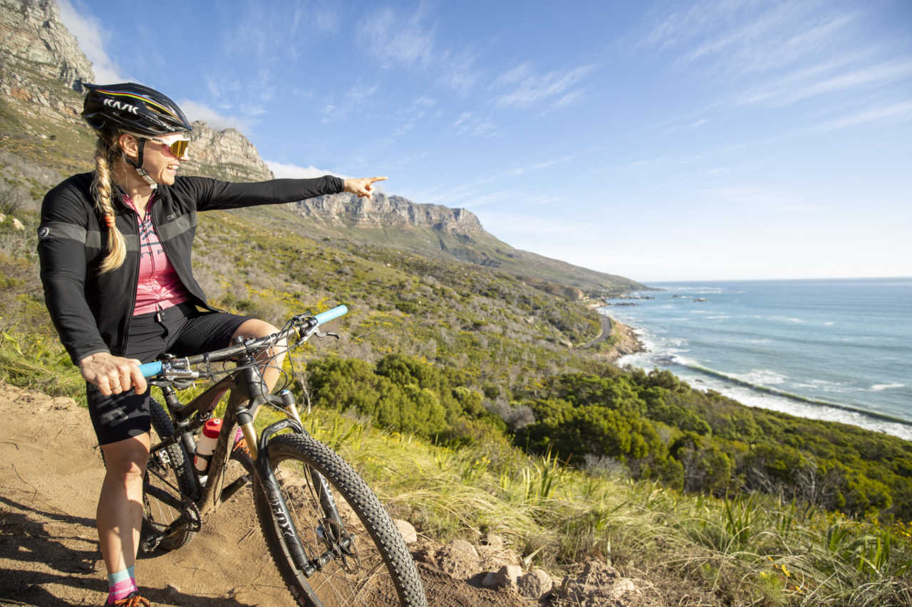 Kate Slegrova in Cape Town testing the Ciovita ladies summit baggies for mounatin biking.