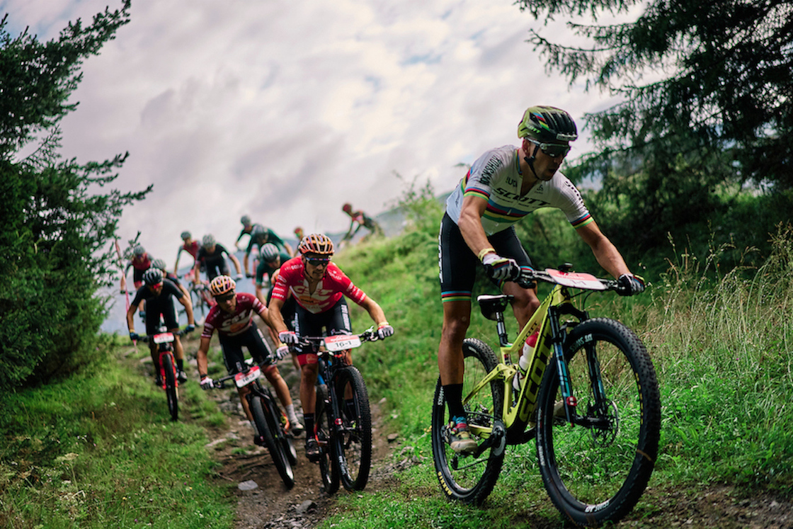 Mountain bike Riders in action in the 2020 Swiss Epic stage race taking place in Graubünden, Laax, Switzerland.