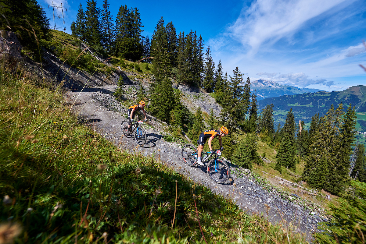 Riders in action during the second stage of the 2020 Swiss Epic mountain bike stage race in Switzerland on 19 August 2020.