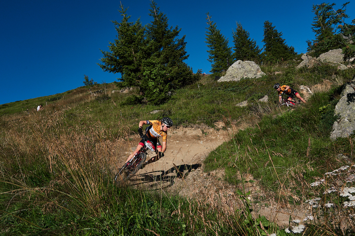 Riders in action during Stage four of the 2020 Swiss Epic mountain bike race in Switzerland on the 21st of August 2020.