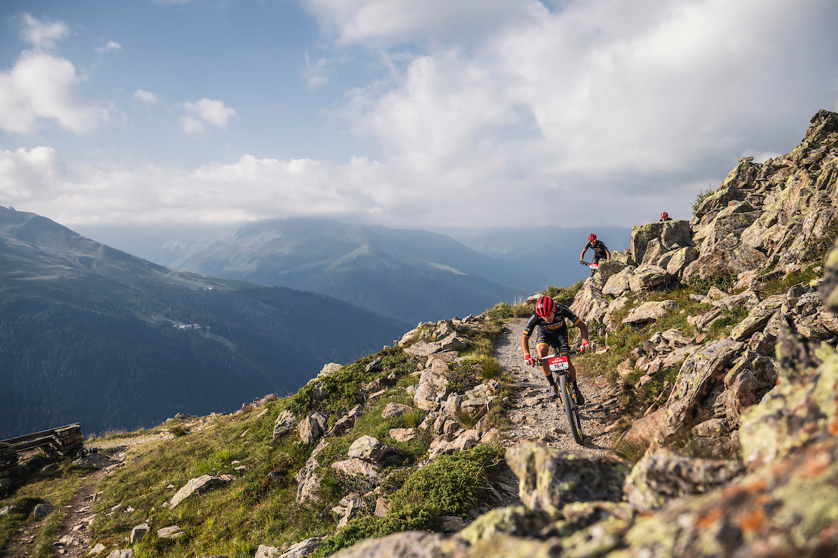 Riders in action during Stage 5 of the 2020 Swiss Epic mountain bike race in Davos Switzerland