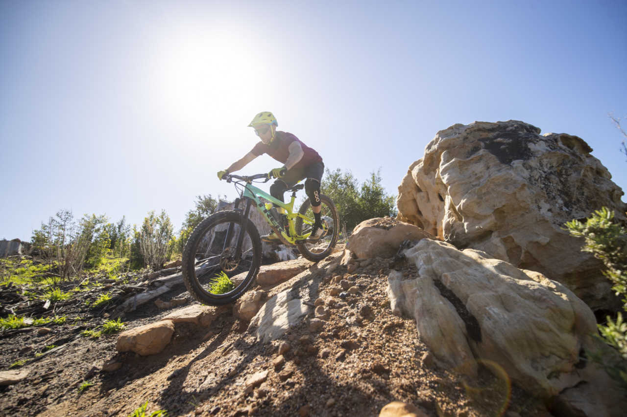 Mountain Biker Myles Kelsey tests the Pirelli Scorpion Tyre on a Trek Slash bike in Tokai just outside of the city of Cape Town. Photograph by Gary Perkin