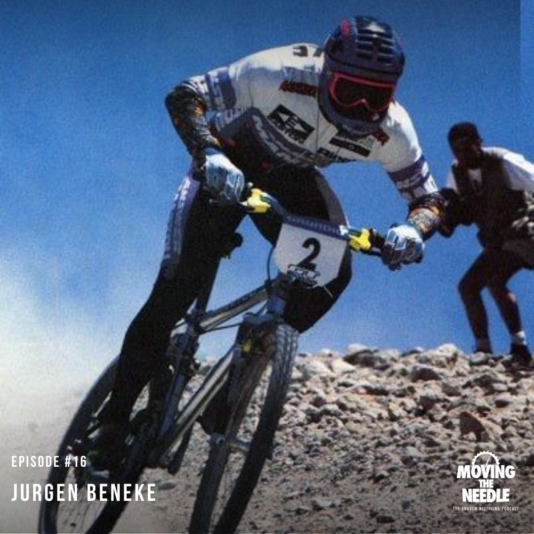 Jurgen Beneke rides his downhill mountain bike