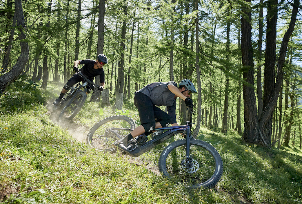 The Giant Trance X E+ Pro 29 electric mountain bike in action