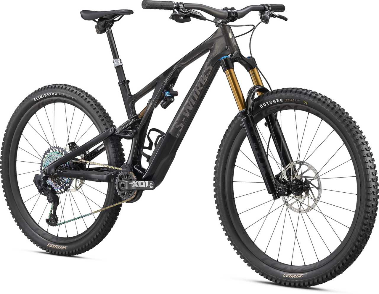 The new 2021 Specialized Stumpjumper carbon fiber trail mountain bike with 130mm suspension travel, SWAT downtube storage and Fox Digressive shock.