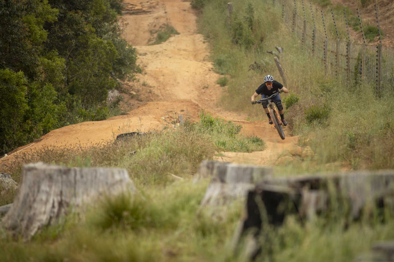 Mountain bikers in action at the SRAM SuperFlow enduro race in Tokai, Cape Town South africa on the 24th of October 2020. Image by Gary Perkin