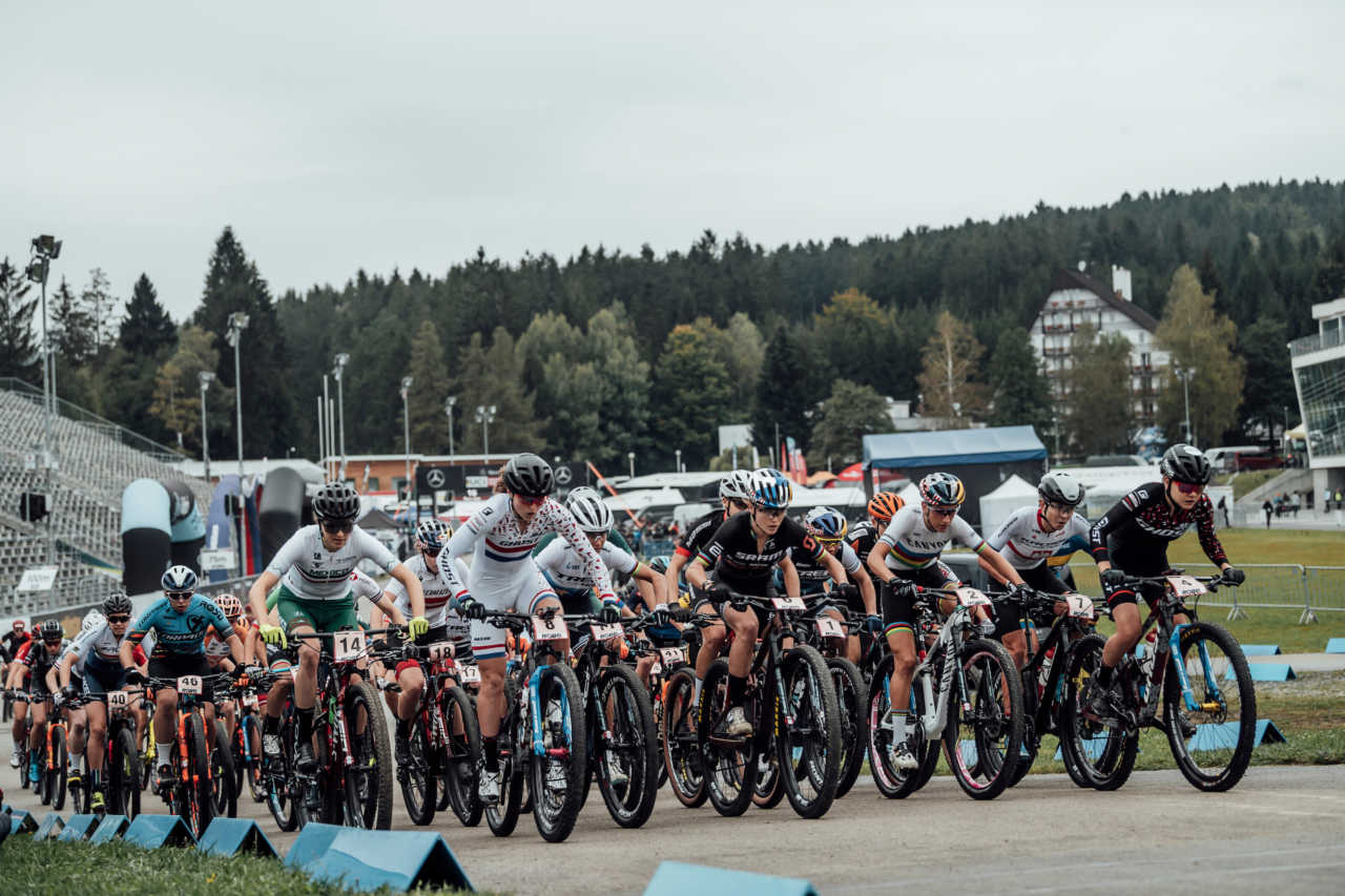 Competitors perform at UCI XCO in Nove Mesto na Morave, Czech Republic on October 1st, 2020