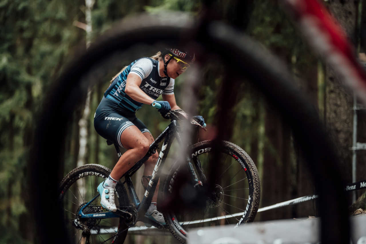 Evie Richards performs at UCI XCO in Nove Mesto na Morave, Czech Republic on October 1st, 2020