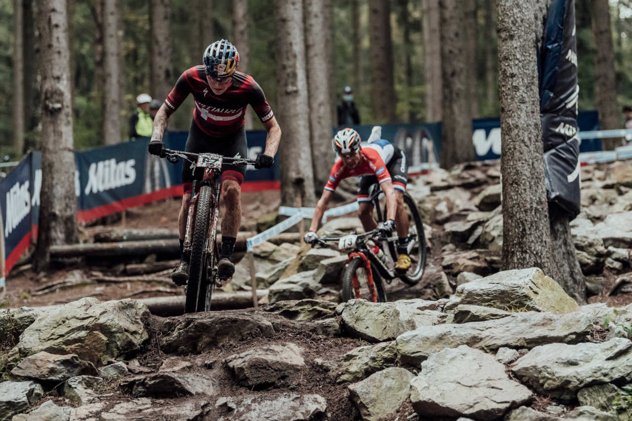 Simon Andreassen performs at UCI XCO in Nove Mesto na Morave, Czech Republic on October 1st, 2020
