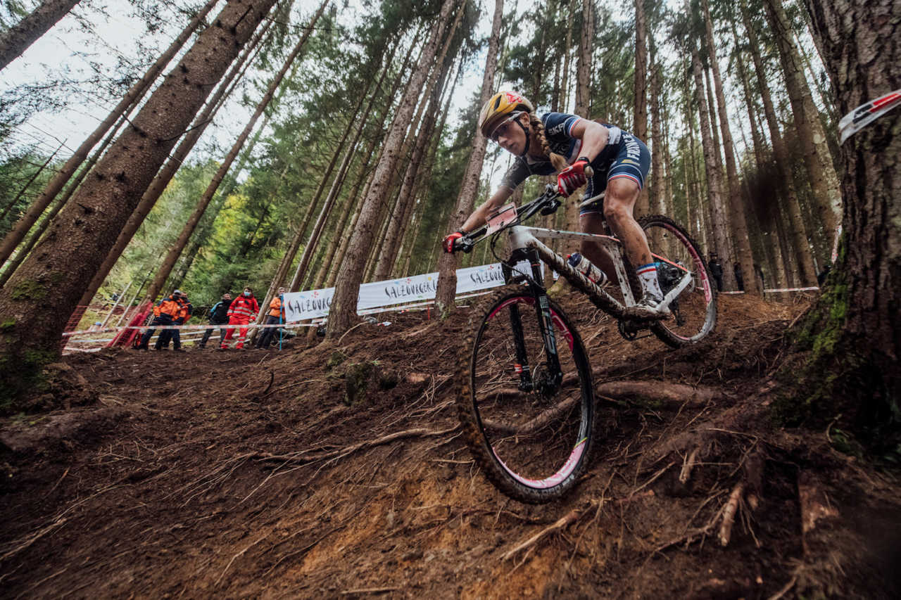 Pauline Ferrand Prevot performs at UCI XCO World Championships in Leogang, Austria on October 10th, 2020 // Bartek Wolinski/Red Bull Content Pool // SI202010100523 // Usage for editorial use only //