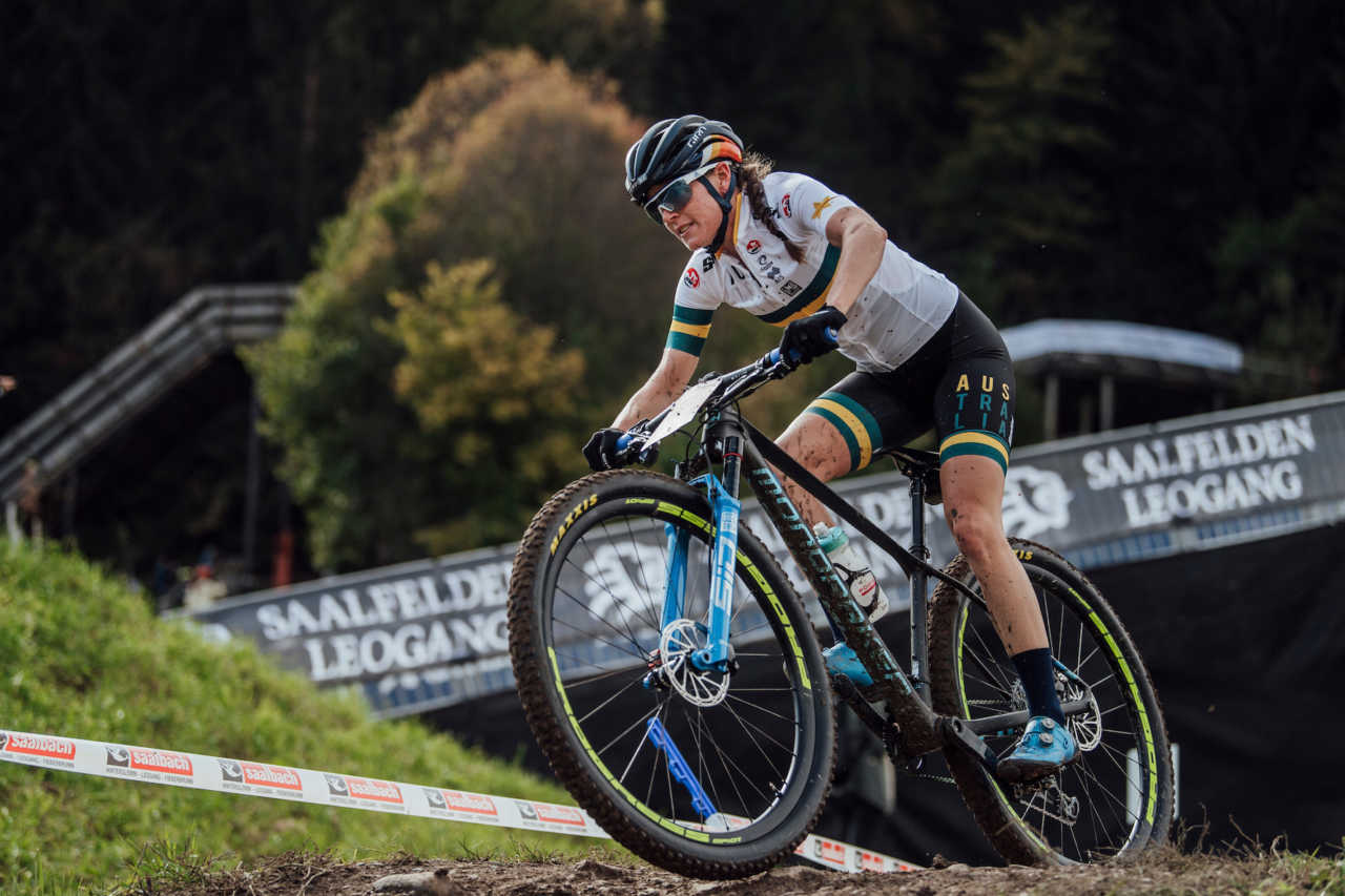 Rebecca Mcconnell performs at UCI XCO World Championships in Leogang, Austria on October 10th, 2020 // Bartek Wolinski/Red Bull Content Pool // SI202010100556 // Usage for editorial use only //