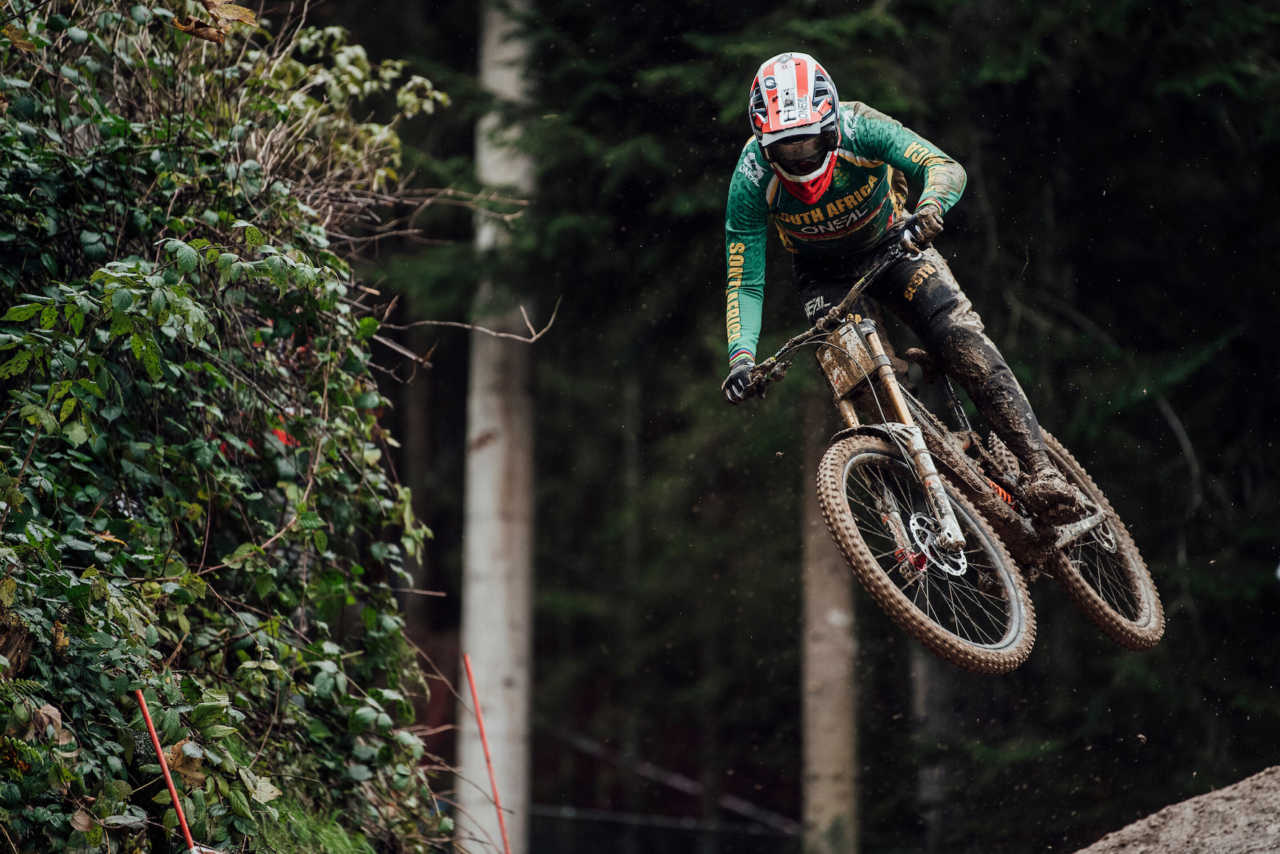 Greg Minnaar performs at UCI DH World Championships in Leogang, Austria on October 11th, 2020 // Bartek Wolinski/Red Bull Content Pool // SI202010110651 // Usage for editorial use only //