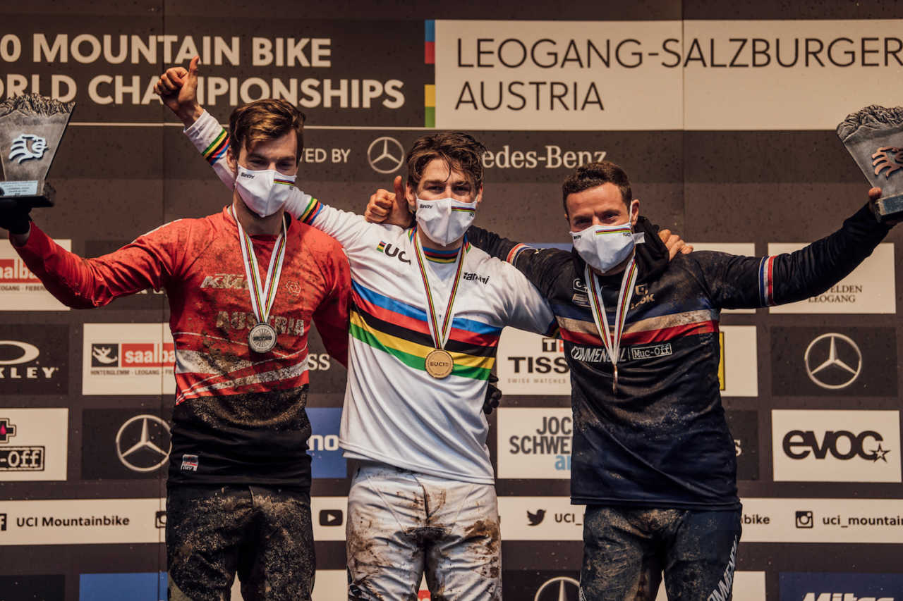 Competitors stand on the podium at UCI DH World Championships in Leogang, Austria on October 11th, 2020 // Bartek Wolinski/Red Bull Content Pool // SI202010110654 // Usage for editorial use only //
