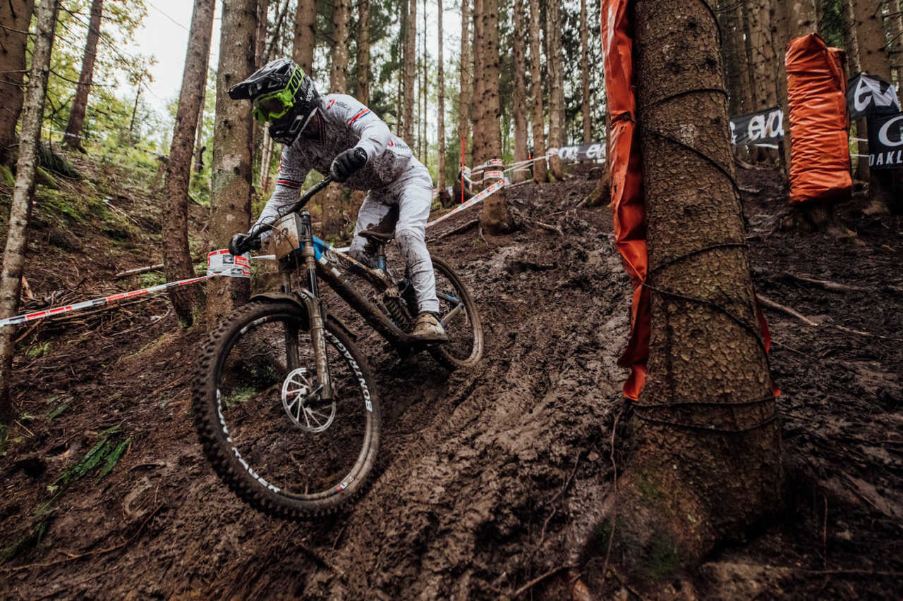 Reece Wilson performs at UCI DH World Championships in Leogang, Austria on October 11th, 2020 // Bartek Wolinski/Red Bull Content Pool // SI202010110662 // Usage for editorial use only //
