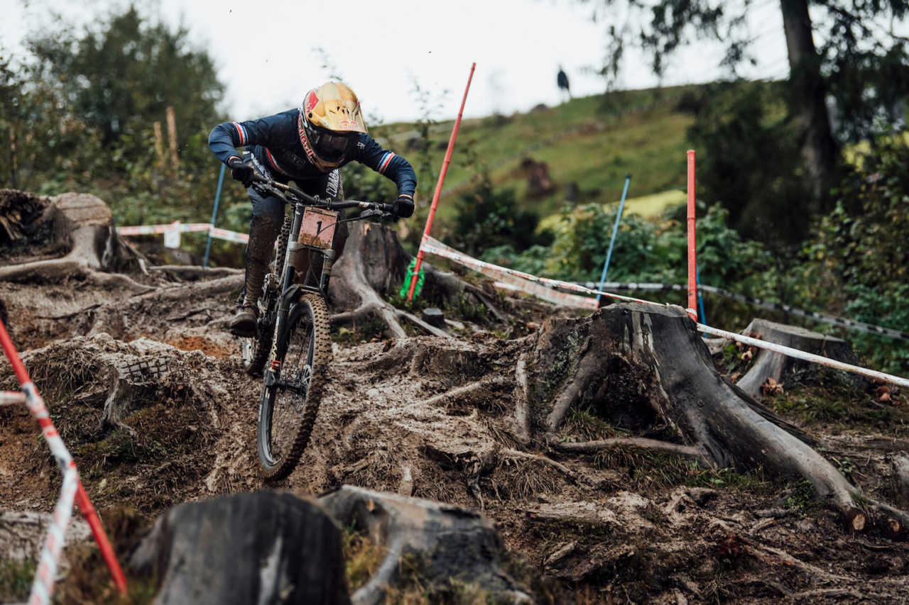 Myriam Nicole in action at the 2020 mountain bike world championships in Leogang austria