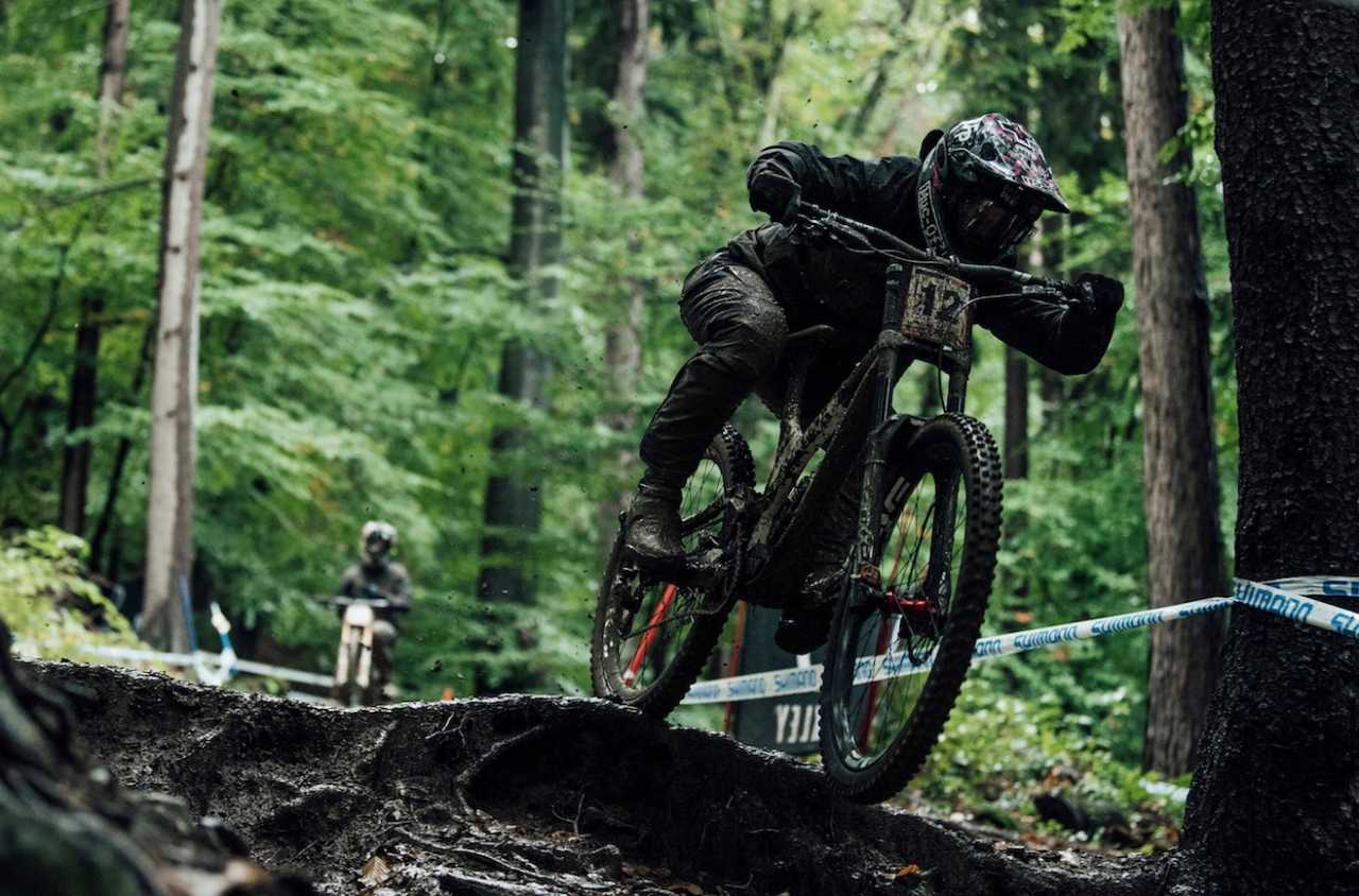 Remi Thirion performs at UCI DH World Cup in Maribor, Slovenia on October 16th, 2020