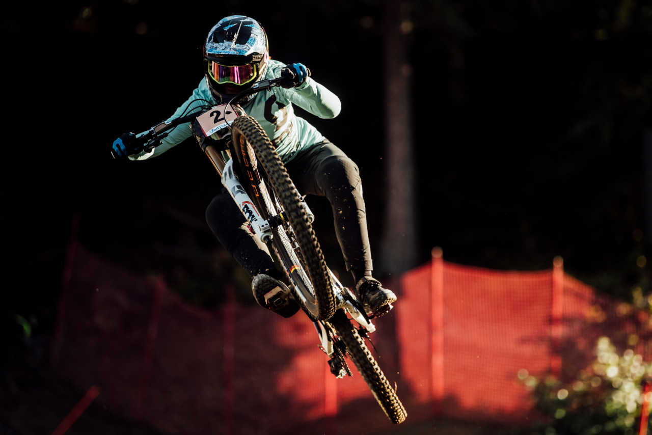 Marine Cabirou performs at UCI DH World Cup in Maribor, Slovenia on October 16th, 2020