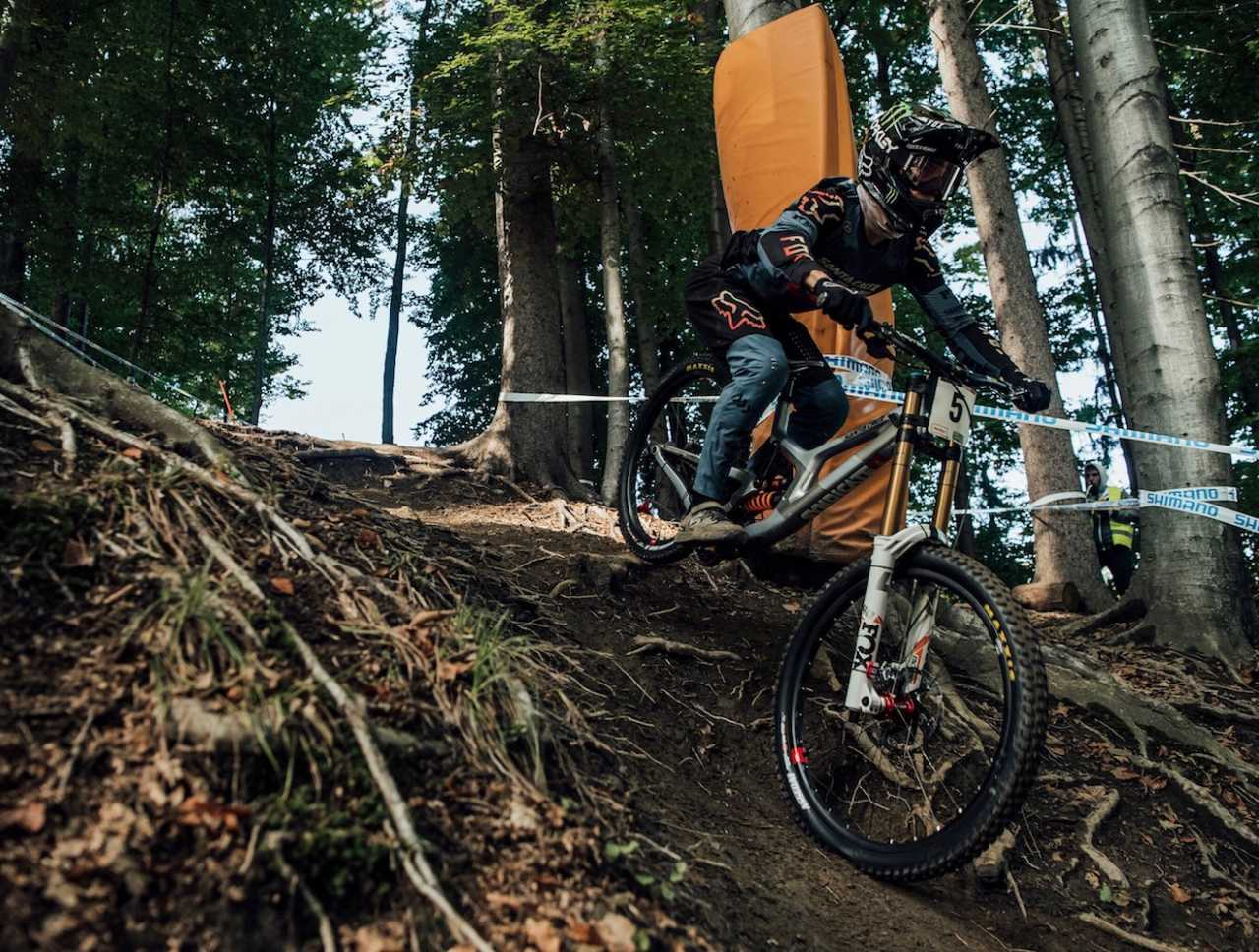 Loris Vergier performs at UCI DH World Cup in Maribor, Slovenia on October 18th, 2020