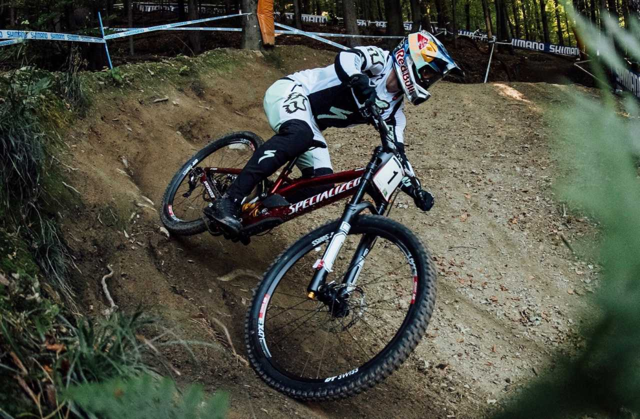 Loic Bruni performs at UCI DH World Cup in Maribor, Slovenia on October 14th, 2020