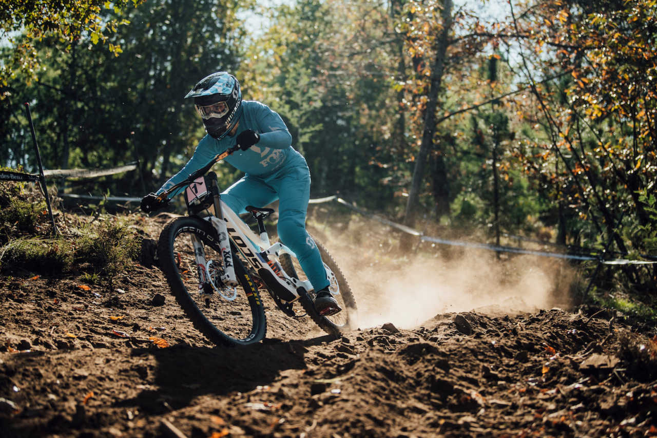 Marine Cabirou performs at UCI DH World Cup in Lousa, Portugal on October 30th, 2020 // Bartek Wolinski/Red Bull Content Pool // SI202010300646 // Usage for editorial use only //