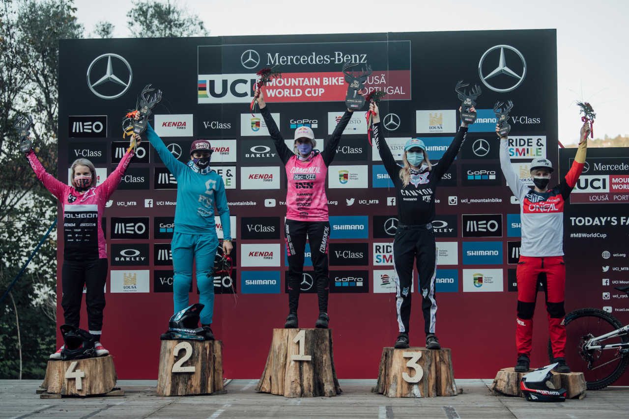 Competitors stand on the podium at UCI DH World Cup in Lousa, Portugal on October 30th, 2020 // Bartek Wolinski/Red Bull Content Pool // SI202010300663 // Usage for editorial use only //