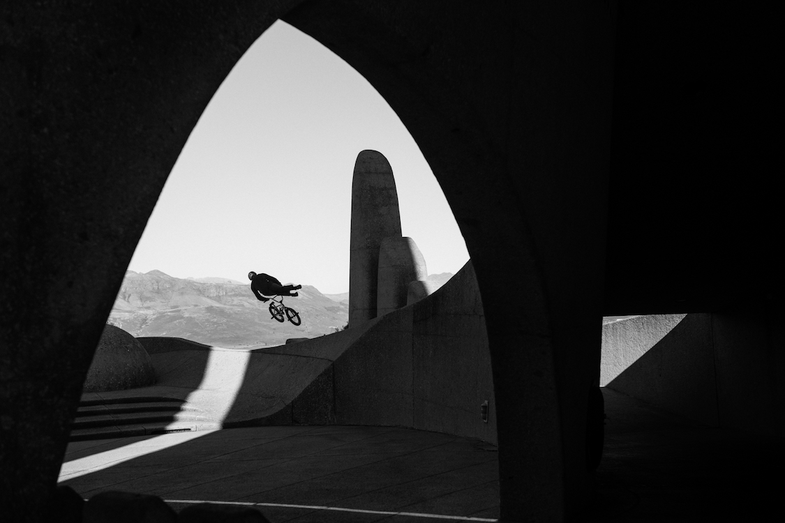 Murray Loubser performs a Tailwhip at the Afrikaans Language Monument  in Paarl, South Africa on July 16, 2020