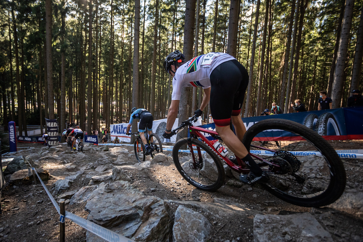 Alan Hatherly in action at the Nove Mesto World Cup mountain bike race in October 2020