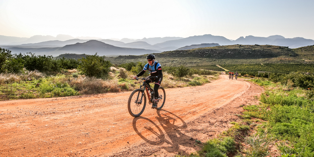 Mountain bike riders in action at the Rooibos2Muisbos cycling race in Piekenierskloof in the Cederberg Mountains as featured in an article in October 2020