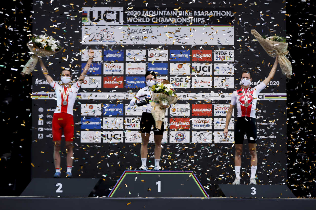 Ariane Luthi and the womens podium of the 2020 Marathon mountain bike world championships in turkey
