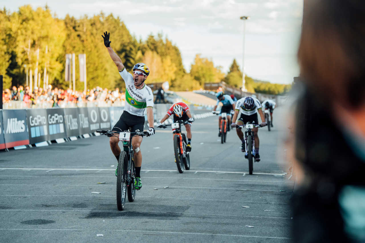 Henrique Avancini performs at UCI XCO in Nove Mesto na Morave, Czech Republic on October 4th, 2020 //