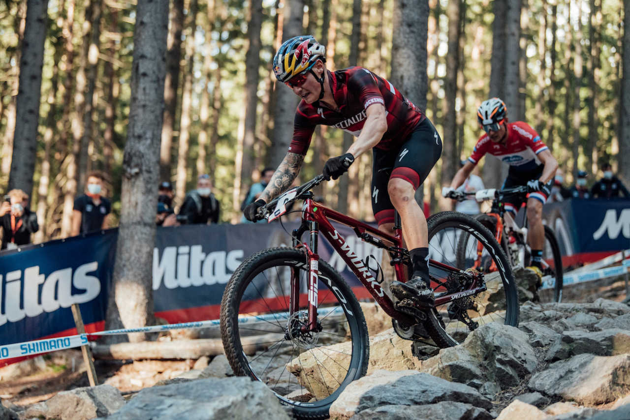 Simon Andreassen in action at the 2020 UCI Mountain Bike world Cup in Nove Mesto.